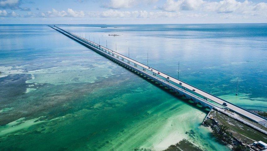 Aerial view of bridge in Florida Keys