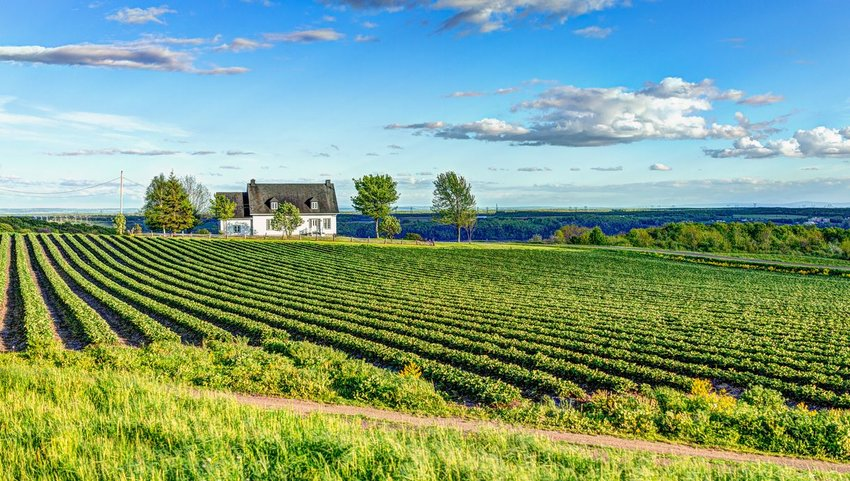 Quebec countryside with farmhouse