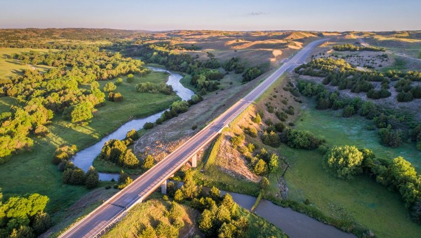 Aerial view of highway over Dismal River