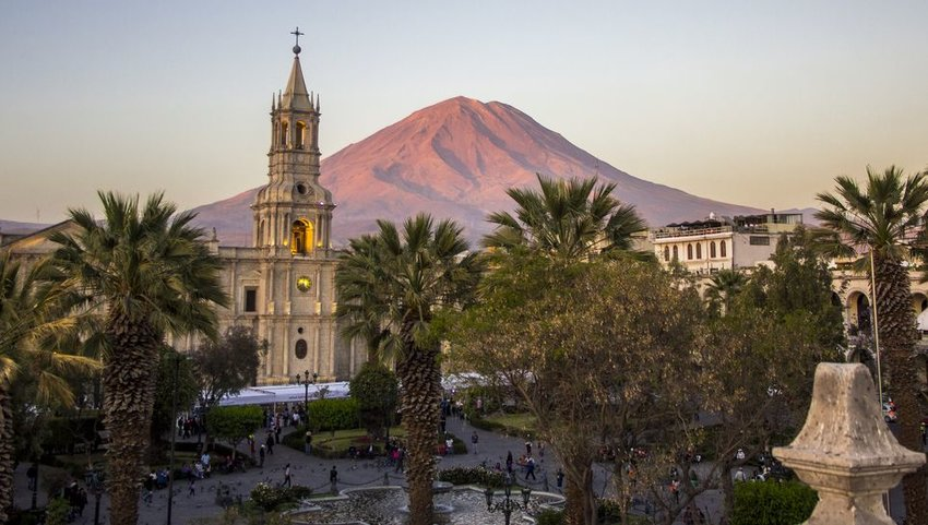Arequipa Church with the Misti Volcano in background