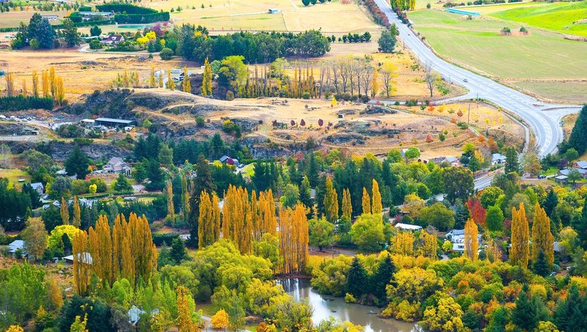 Aerial view of Arrowtown in fall