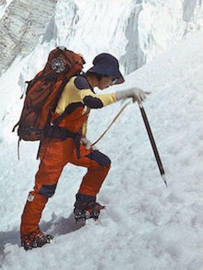 Junko Tabei climbing a snowy mountain
