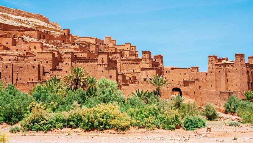 Fortified village (castle) Ait Ben Haddou on a sunny day with clear blue sky
