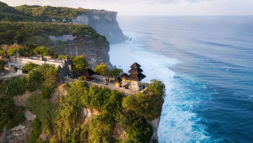 Temple on cliffs over the ocean in Bali