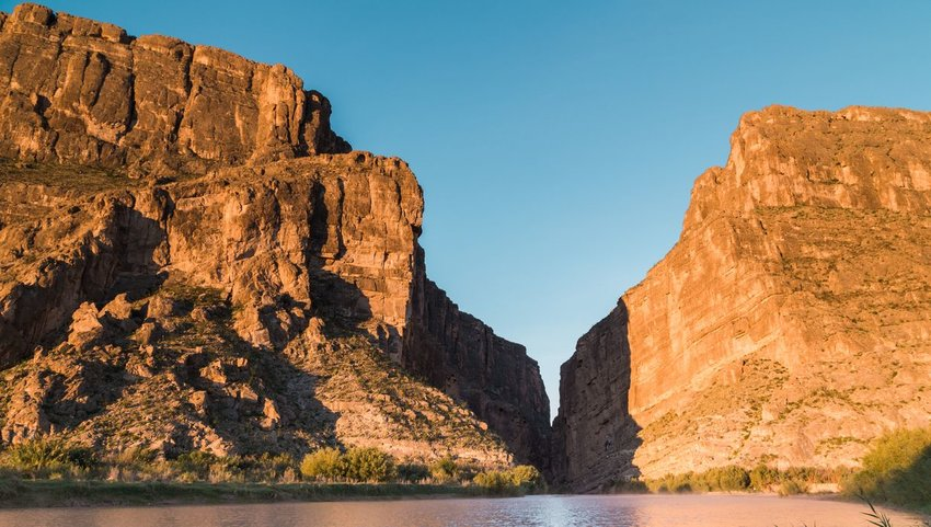The sunrise on the cliffs of Santa Elena Canyon at Big Bend National Park