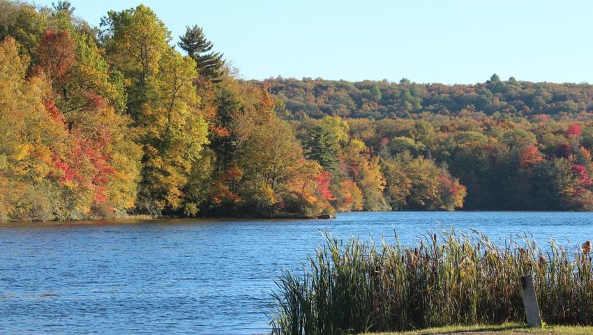Wawayanda State Park in New Jersey with view of lake in autumn