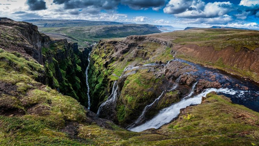 Aerial view of Glymur waterfall