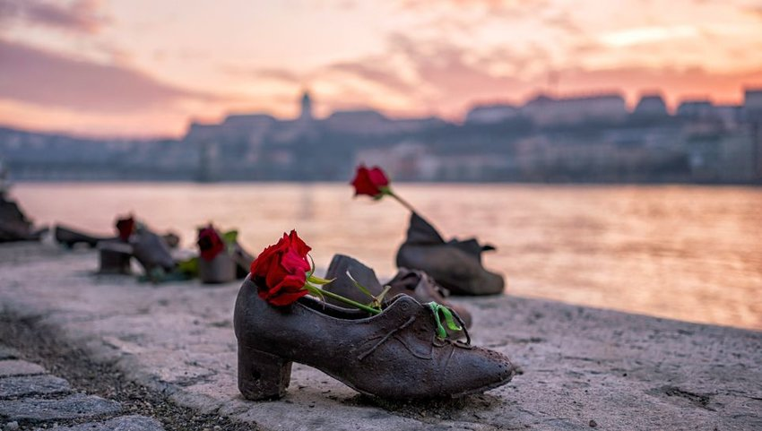Shoes on the bank of the Danube at sunset in Budapest, Hungary
