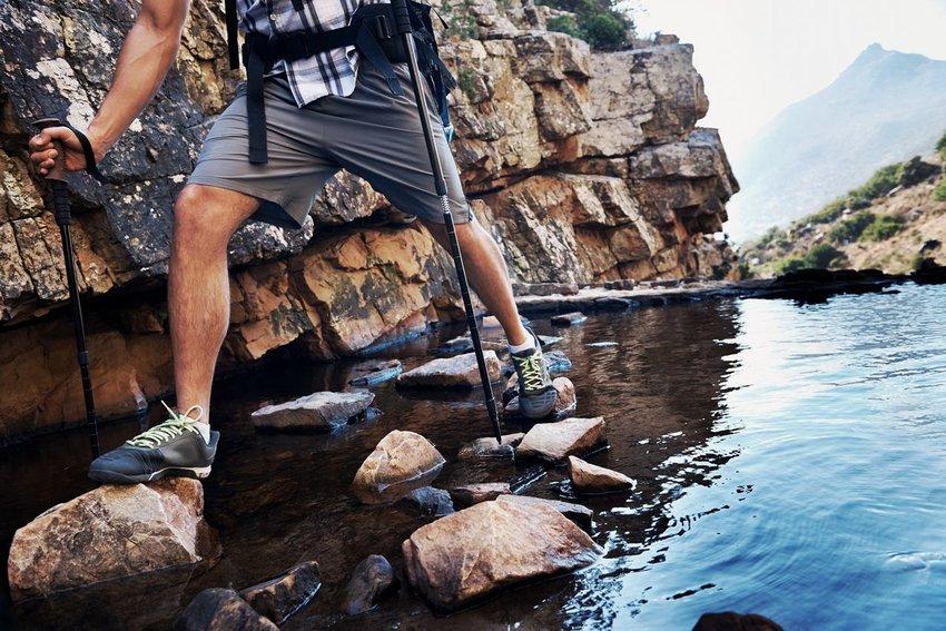 Trekking poles over water