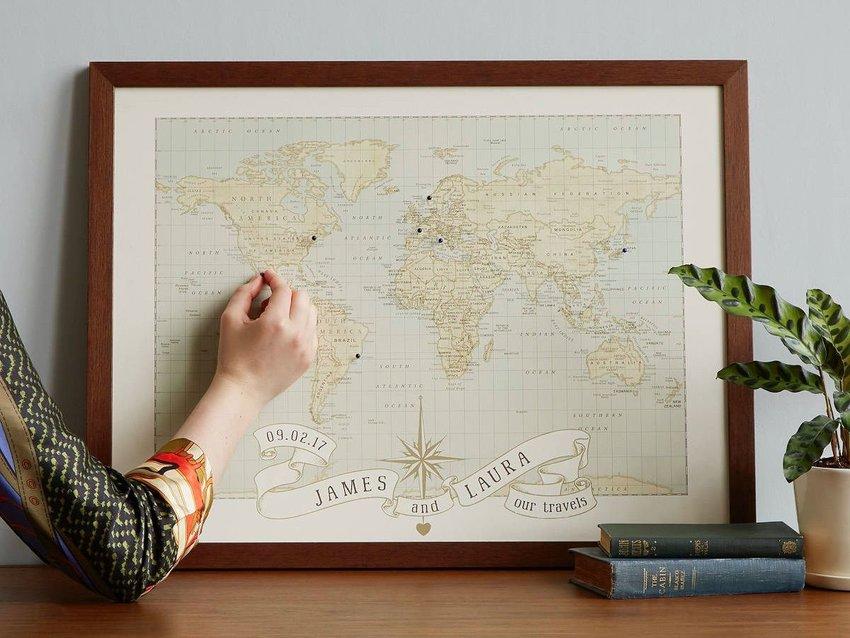 Personalized pushpin travel map