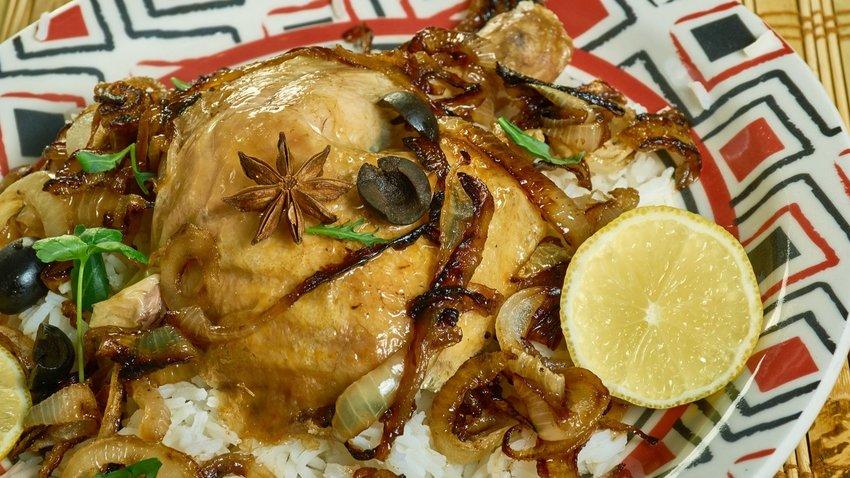 Senegalese Lemon Chicken , African Chicken Yassa Popular in West Africa